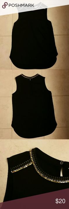 H&M black shell top with metallic neck details Black top with gold/leather trim on collar. Brand new with tags. H&M Tops Tank Tops