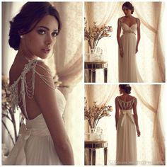 Wholesale Sheath Wedding Dresses - Buy 2014 Goddess Beading Wedding Dresses Soft Tulle Long Column Elegant Bow Backless Pearls Sequins Cryst...