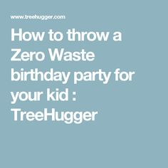 How to throw a Zero Waste birthday party for your kid : TreeHugger