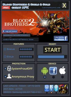 Blood Brothers 2 hack cheat tool  http://cheatsarchive.com/cheats-detail/blood-brothers-2-hack-mod-apk-and-tips/