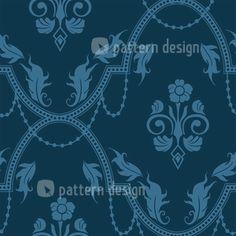Blue Baroque Allover Design, designed by Martina Stadler, Austria    High-quality Vector Pattern from patterndesigns.com