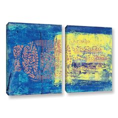 Blue With Stencils by Elena Ray 2 Piece Gallery-Wrapped Canvas Set