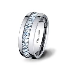 Mens Wedding Band Polished Titanium ring with by TungstenOmega