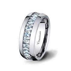 Mens Wedding Band 8mm Titanium ring High Polished by TungstenOmega
