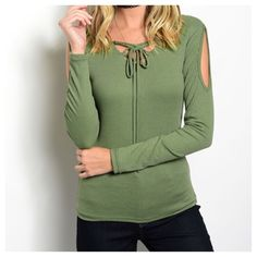 Coming Soon. New - GREEN RIBBED TOP 63% POLYESTER 32% RAYON 5% SPANDEX Tops Blouses