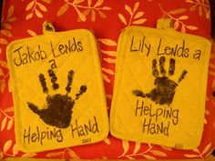 Pot holders, paint, and sweet handprints...best and easiest grandparent gift ever!