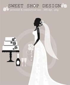 Wedding Clip Art, Bridal Shower Clip Art, Royalty Free Clipart, N01, Instant Download by SweetShopDesign, $4.95