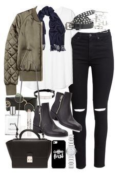 """""""Outfit with black ripped jeans and khaki bomber jacket"""" by ferned on Polyvore featuring H&M, Acne Studios, 3.1 Phillip Lim, Maison Scotch, Ray-Ban, philosophy, Topshop, Cartier, Forever 21 and Casetify"""