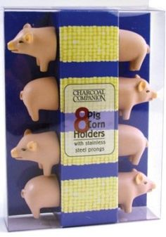$9.99 Pig Corn Holders - Unique Kitchen Gadgets & Gifts - Feeding Bubba