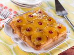 Pineapple Upside-Down Cake Recipe : Trisha Yearwood : replace vanilla extract with 2 1/2 tsp pineapple syrup from can