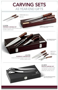 These three elegant carving sets make for fantastic gifting ideas at this time of year.  Please note that there are various plaque options available, all of which are optional extras and not included with the carving set.   LS-6154 - Oakdale Carving Set  R 259.99 Excl VAT.  LS-6155 - Glendale Carving Set  R 399.99 Excl VAT.  LS-6013 - Dallas Carving Set  R 169.99 Excl VAT.  Please contact one of our friendly branding specialists to discuss your branding needs.  Minimum order quantity…