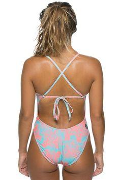 e7e19dc80e2 JOLYN Printed Jackson 3 Tie-Back Onesie - Coral Swim Team Suits, Swimming  Equipment