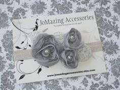 Baby Girl Headband  Grey Headband  Silver by JoMazingAccessories, $6.99
