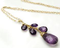 Amethyst Necklace Purple Stone Jewelry Amethyst by fineheart