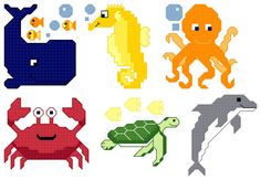 6 Under the Sea Cross Stitch designs  PDF pattern by CountedQuilts The 3 inch Matching Mini cross stitch patterns are the perfect accent to sea room. Or stitch it on a baby clothes for a matching quilt and outfit.