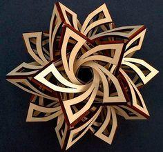 laser-cut wood art - Lost At E Minor: For creative people Cardboard Sculpture, Wood Sculpture, 3d Laser Printer, Paper Art, Paper Crafts, Geometric Sculpture, Geometric Art, Laser Cut Wood, Laser Cutting