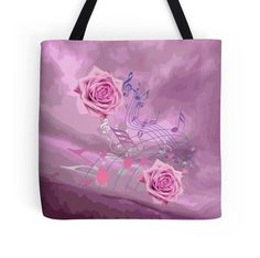 #SoftPinkMusicNotes&Roses Abstract #ToteBag by #MoonDreamsMusic