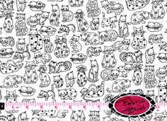 CAT Fabric by the Yard Half Yard or Fat Quarter Black & White Cats Fabric DOODLE Cat Kitten Fabric Apparel 100% Cotton Quilting Fabric w1-2