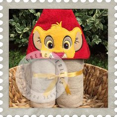 Lion Cub hooded towel design. #Embroidery #Applique