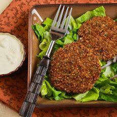 Ground Turkey and Quinoa Patties with Mint, Cumin, and Yogurt-Tahini Sauce