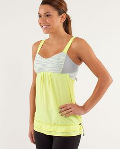 Lululemon   RUN:Back On Track Tank  in clarity yellow/wee are from space polar cream clarity yellow/silver slate