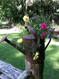 justbelieve2him: Watering can planter…