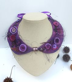 Purple Peter Pan II collar fiber art necklace by Cesart64 on Etsy, $65.00