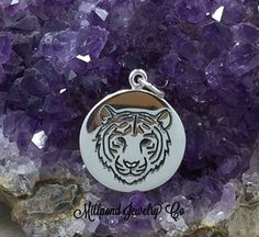 Tiger Charm, Tiger Pendant, Sterling Silver Charm, Sterling Silver Pendant, Tiger Power Charm, Tiger Disc Charm