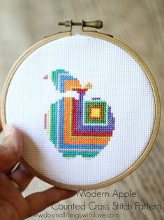This simple, modern geometric apple cross stitch pattern will add a pop of color to any kitchen or school room. It is the perfect teachers