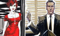 Marvel and DC comic book designer creates stunning Film Noir style images of Mad Men characters Joan Holloway and Don Draper