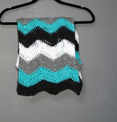 Chevron Baby Blanket Afghan Throw Crochet - Light Grey, Dark Grey, Turquoise, & White - Ready To Ship by AllieBlankets on Etsy