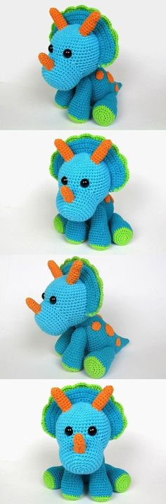 Triceratops Tripi Amigurumi Pattern More - The Crocheting Place Crochet Diy, Crochet Amigurumi, Amigurumi Patterns, Crochet For Kids, Crochet Crafts, Crochet Dolls, Yarn Crafts, Knitting Patterns, Crochet Patterns