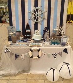 table decoration for a kids birthday party deco 2 - Geburtstag Decoration Theme Marin, Decoration Party, Baby Shower Themes, Baby Boy Shower, Shower Ideas, Baby Shower Marinero, Sailor Baby Showers, Sailor Theme Baby Shower, Nautical Theme Baby Shower