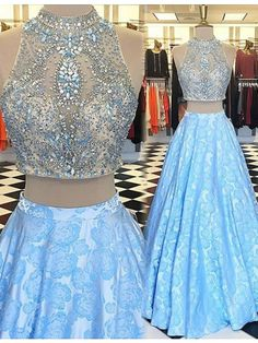 Sexy Prom Dress,Modern Light Blue High Neck Floor Length Two Piece Prom Dress with Beading