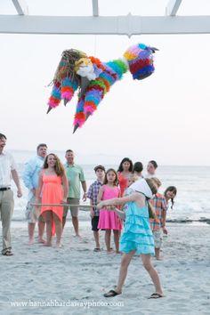 Destination Wedding Photographer || Hannah Hardaway || Punta Mita, Mexico Wedding || Casual Beach Wedding || Mexican Themed Colorful Wedding || Piñata || Wedding Props || Toys for the kids || www.hannahhardawayphoto.com