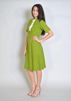 Vintage MOD Dress 60s Chartreuse Lace Bib Green by WaistedVintage1, $46.00