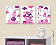 Affiche pour enfant illustration bébé poster enfant fille décoration chambre enfant escargot n112 : Décoration pour enfants par cashemir