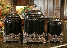 Mud Pie All Things French Collection Fleur De Lis Canister Set 150093 New |  Canister Sets, Kitchens And House