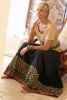 Love the skirt and top for the mature woman!