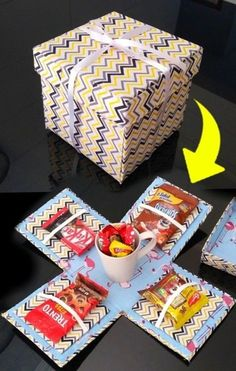 Cute Birthday Gift, Birthday Gifts For Best Friend, Diy Birthday, Diy Crafts For Gifts, Paper Crafts, Boite Explosive, Diy Gift Box, Diy Gifts For Boyfriend, Candy Gifts