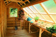 backyard garden shed | The Phoenix Wood Greenhouse that is produced by Handy Home Products ...