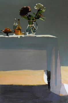 Susan Ashworth: Bottles and Mopheads, oil on canvas