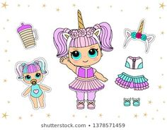Cute vector doll in unicorn costume and colorful hair. Little golden horn on headband. Girlish faritable clothes for birthday lol party, halloween Doodle Frames, 3d Letters, Vintage Frames, Doodles Bonitos, Cute Pink Background, Doll Style, Lol Doll Cake, Little Man Birthday, Barbie Paper Dolls