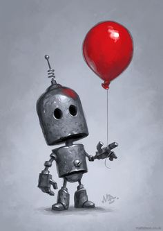 robots artworks The Red Balloon Canvas Wall Art by Matt Dixon Arte Robot, Robot Art, Robots Drawing, Art Drawings, Red Balloon, Balloons, Desenho Scooby Doo, Recycled Robot, Bd Art
