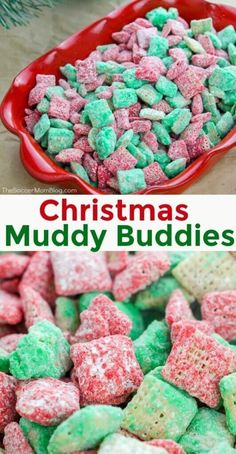 Our Christmas Puppy Chow is a fun and festive treat that everyone in your family is sure to love! This bright red and green colored holiday muddy buddy recipe is crunchy, delicious, and the perfect easy Christmas recipe! Christmas Desserts Easy, Holiday Treats, Christmas Treats, Holiday Recipes, Holiday Parties, Family Christmas, Christmas Puppy Chow, Christmas Recipes, Christmas Cooking