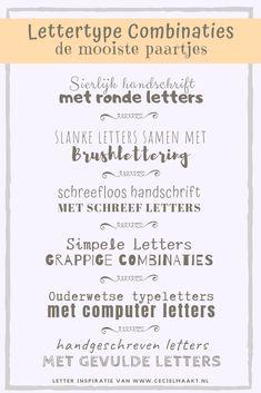 In dit blog 6 lettertype combinaties die mooi bij elkaar passen. Zowel als font op de computer als handlettering combinatie. Inclusief gratis lettertype alfabet.. #handlettering #font #combo #pair #abc #alfabet Doodle Lettering, Hand Lettering Quotes, Types Of Lettering, Brush Lettering, Bullet Journal Font, Journal Fonts, Abc Font, How To Write Calligraphy, Sketch Notes