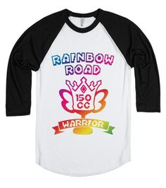 Rainbow Road Warrior.  They say a shooting star is a player falling off Rainbow Road.  Show your Mario Kart skills with this colorful American Apparel baseball style tee.