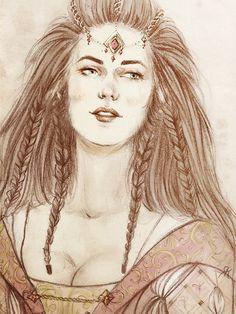 dwarf girls hobbit | Dwarf-woman (probably Dís) with sideburns