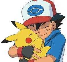 Ash and Pikachu hugging and cuddling