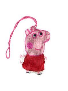 Peppa pig, Peppa pig toy,  Peppa cross stitch, embroidery Peppa, padded Peppa pig, embroidery toy, Peppa suspension, bag accessories, decor Peppa pig, Peppa holiday decor, keychain Peppa